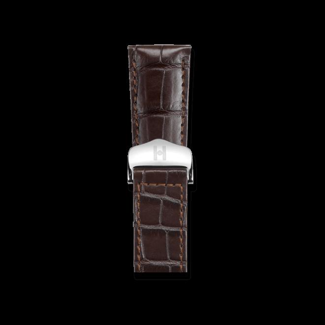 Uhren-Armband Hirsch Savoir Dunkelbraun Matt Uhren-Armband mit silberfarbener Faltschließe | Anstoßbreite 16 mm | Länge 19,50 cm