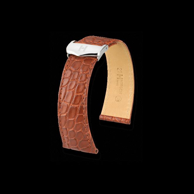 Uhren-Armband Hirsch Savoir Goldbraun Matt Uhren-Armband mit silberfarbener Faltschließe | Anstoßbreite 21 mm | Länge 20 cm bei Brogle