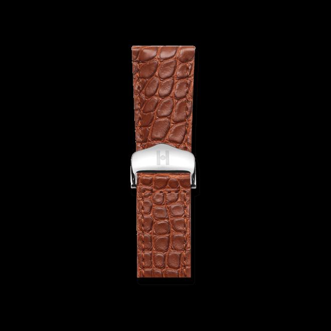 Uhren-Armband Hirsch Savoir Goldbraun Matt Uhren-Armband mit silberfarbener Faltschließe | Anstoßbreite 18 mm | Länge 19,50 cm bei Brogle