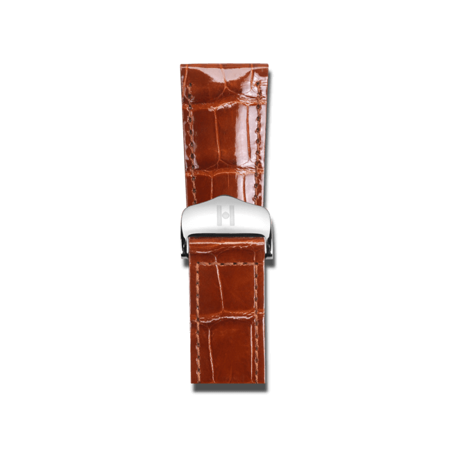 Uhren-Armband Hirsch Savoir Goldbraun Uhren-Armband mit silberfarbener Faltschließe | Anstoßbreite 18 mm | Länge 20 cm bei Brogle