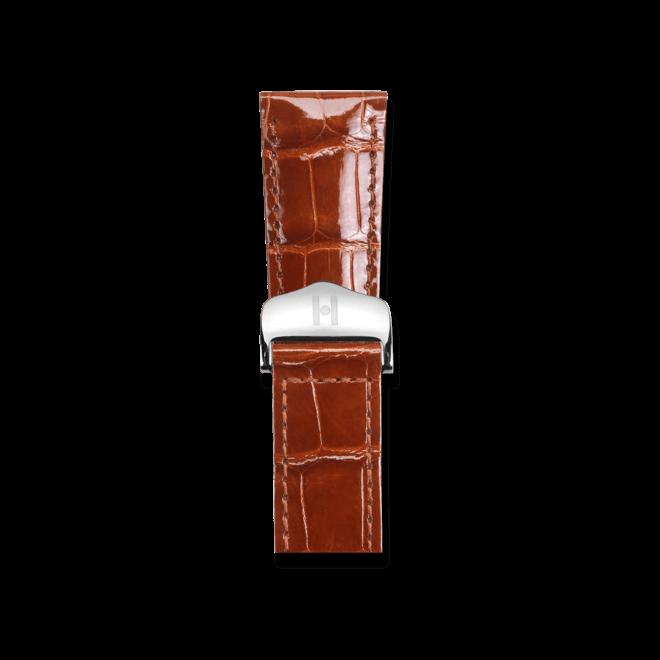 Uhren-Armband Hirsch Savoir Goldbraun Uhren-Armband mit silberfarbener Faltschließe | Anstoßbreite 21 mm | Länge 19,50 cm bei Brogle