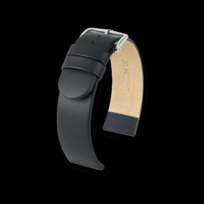 Uhren-Armband Hirsch Scandic Schwarz Uhren-Armband mit silberfarbener Dornschließe | Anstoßbreite 26 mm | Länge 18 cm bei Brogle