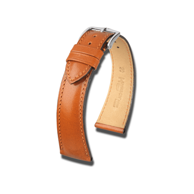 Uhren-Armband Hirsch Siena Goldbraun Uhren-Armband mit silberfarbener Dornschließe   Anstoßbreite 20 mm   Länge 20 cm bei Brogle