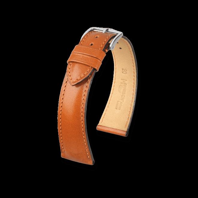 Uhren-Armband Hirsch Siena Schwarz Uhren-Armband mit silberfarbener Dornschließe   Anstoßbreite 18 mm   Länge 20 cm bei Brogle