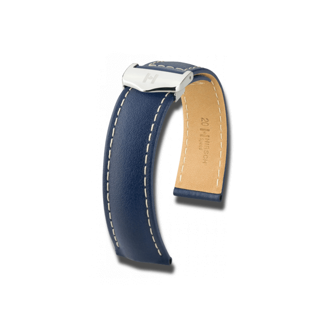 Uhren-Armband Hirsch Speed Blau Uhren-Armband mit silberfarbener Faltschließe   Anstoßbreite 21 mm   Länge 19 cm bei Brogle