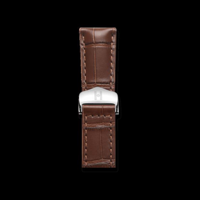 Uhren-Armband Hirsch Speed Braun Matt Uhren-Armband mit silberfarbener Faltschließe   Anstoßbreite 20 mm   Länge 19 cm bei Brogle