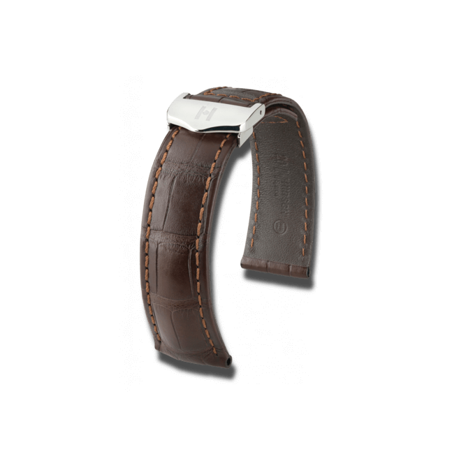 Uhren-Armband Hirsch Speed Dunkelbraun Matt Uhren-Armband mit silberfarbener Faltschließe | Anstoßbreite 21 mm | Länge 19 cm bei Brogle