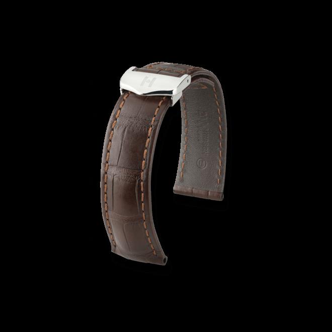Uhren-Armband Hirsch Speed Schwarz Matt Uhren-Armband mit silberfarbener Faltschließe | Anstoßbreite 20 mm | Länge 19 cm bei Brogle