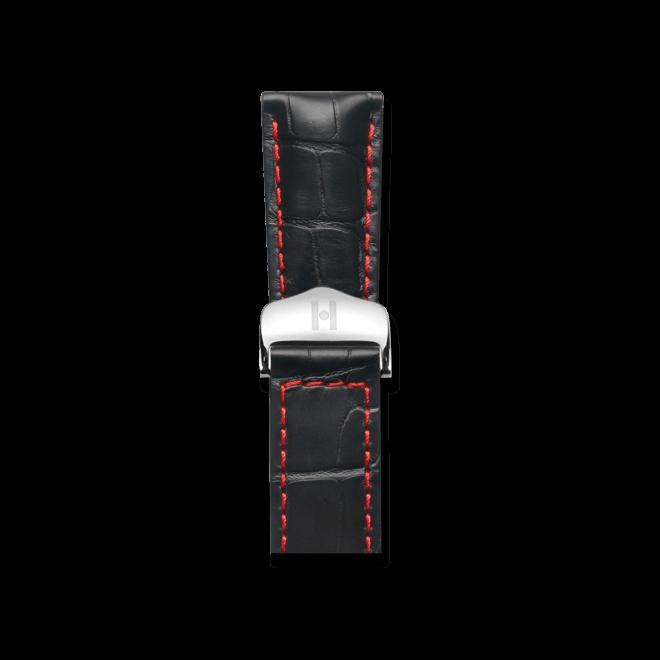 Uhren-Armband Hirsch Speed Schwarz Matt Uhren-Armband mit silberfarbener Faltschließe   Anstoßbreite 21 mm   Länge 19 cm bei Brogle