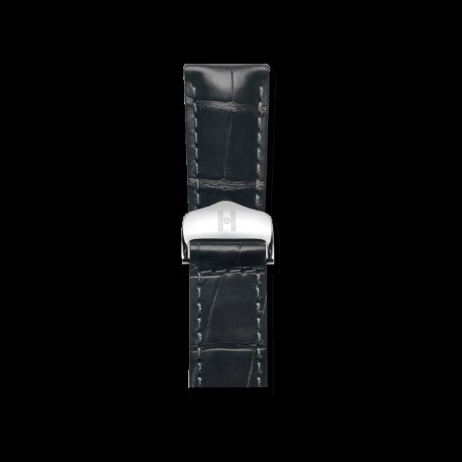 Uhren-Armband Hirsch Speed Schwarz Matt Uhren-Armband mit silberfarbener Faltschließe | Anstoßbreite 21 mm | Länge 19 cm bei Brogle