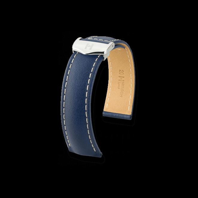Uhren-Armband Hirsch Speed Schwarz Uhren-Armband mit silberfarbener Faltschließe | Anstoßbreite 20 mm | Länge 19 cm