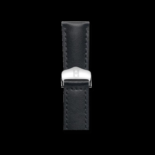 Uhren-Armband Hirsch Speed Schwarz Uhren-Armband mit silberfarbener Faltschließe   Anstoßbreite 20 mm   Länge 19 cm bei Brogle