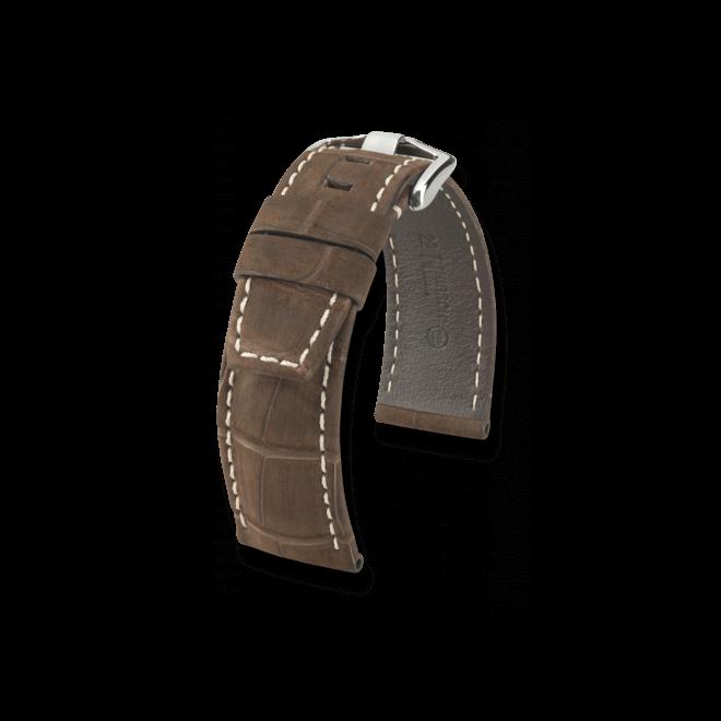 Uhren-Armband Hirsch Tritone Braun Uhren-Armband mit silberfarbener Dornschließe   Anstoßbreite 22 mm   Länge 20 cm bei Brogle