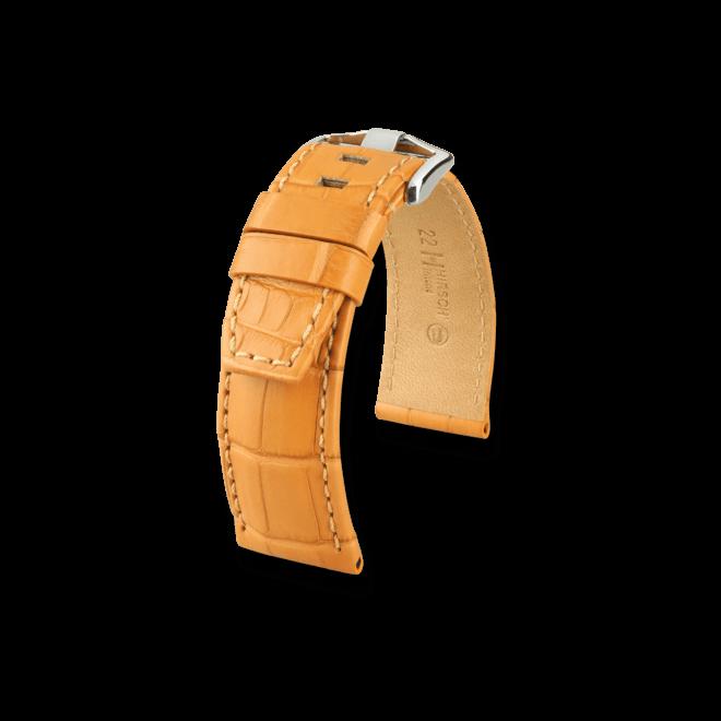 Uhren-Armband Hirsch Tritone Honig Uhren-Armband mit silberfarbener Dornschließe   Anstoßbreite 24 mm   Länge 20 cm bei Brogle