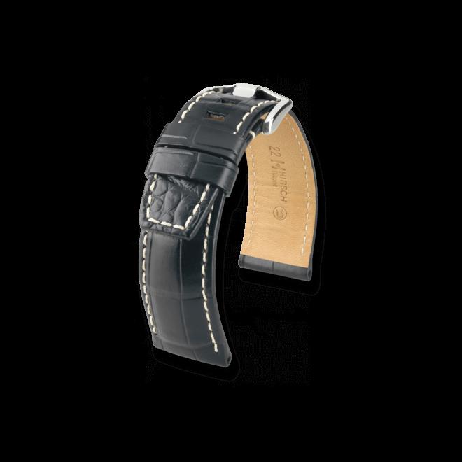 Uhren-Armband Hirsch Tritone Schwarz Matt Uhren-Armband mit silberfarbener Dornschließe   Anstoßbreite 22 mm   Länge 20 cm bei Brogle