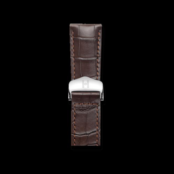 Uhren-Armband Hirsch Voyager Dunkelbraun Matt Uhren-Armband mit silberfarbener Faltschließe | Anstoßbreite 22 mm | Länge 20,50 cm bei Brogle