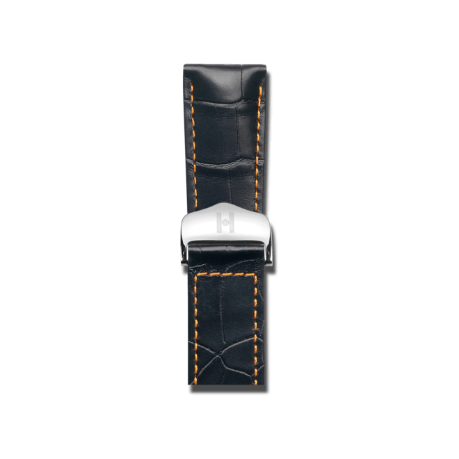 Uhren-Armband Hirsch Voyager Schwarz Matt Uhren-Armband mit silberfarbener Faltschließe | Anstoßbreite 20 mm | Länge 20,50 cm bei Brogle
