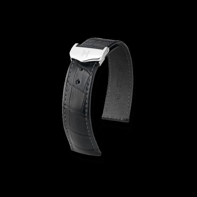 Uhren-Armband Hirsch Voyager Schwarz Matt Uhren-Armband mit silberfarbener Faltschließe | Anstoßbreite 22 mm | Länge 20,50 cm bei Brogle