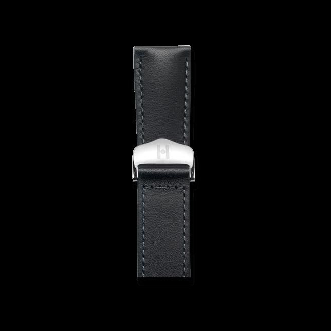 Uhren-Armband Hirsch Voyager Schwarz Uhren-Armband mit silberfarbener Faltschließe | Anstoßbreite 20 mm | Länge 20,50 cm bei Brogle