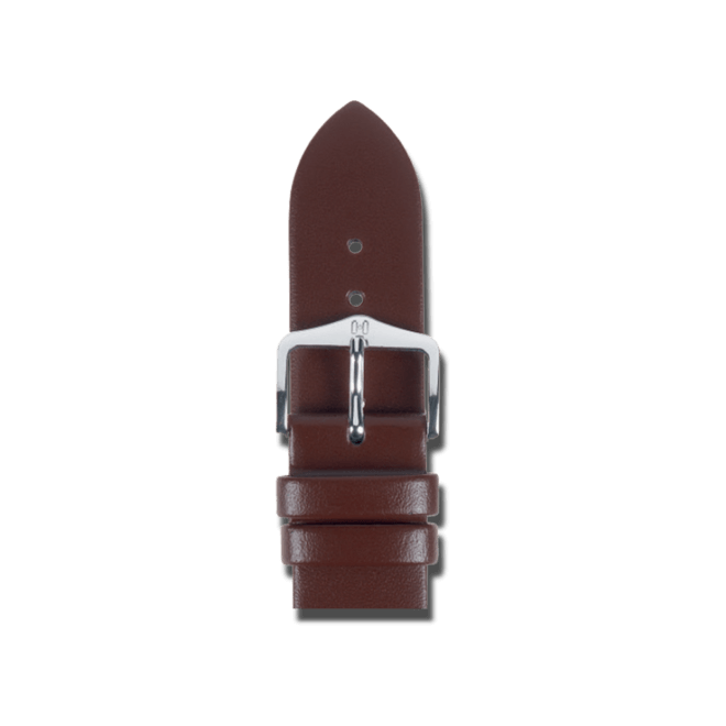 Uhren-Armband Hirsch Wild Calf Braun Uhren-Armband mit silberfarbener Dornschließe | Anstoßbreite 20 mm | Länge 22 cm bei Brogle