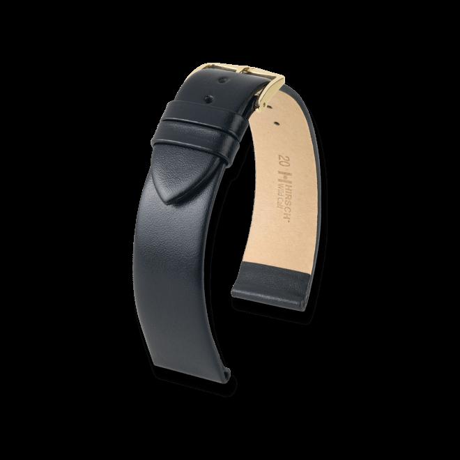 Uhren-Armband Hirsch Wild Calf Schwarz Uhren-Armband mit silberfarbener Dornschließe   Anstoßbreite 12 mm   Länge 18 cm bei Brogle