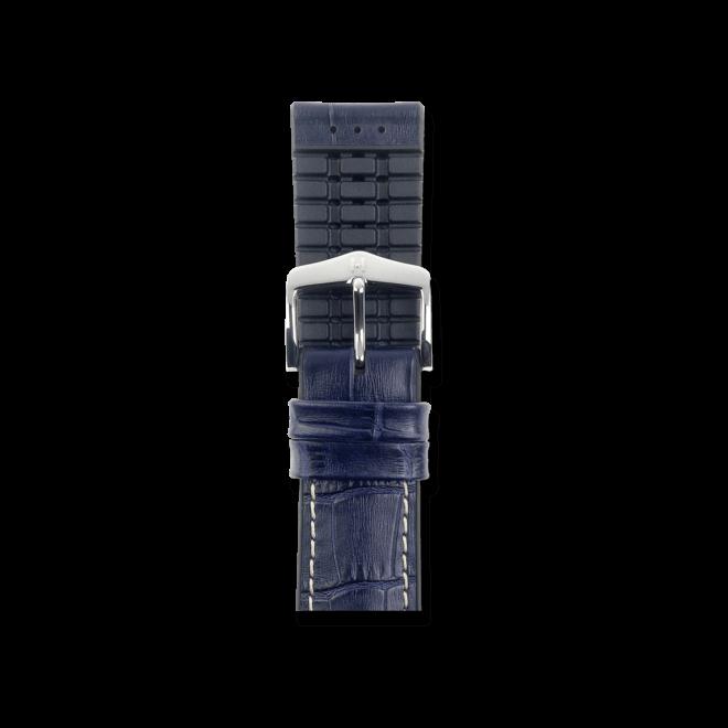Uhren-Armband Hirsch George Blau Uhren-Armband mit silberfarbener Dornschließe | Anstoßbreite 20 mm | Länge 20 cm bei Brogle
