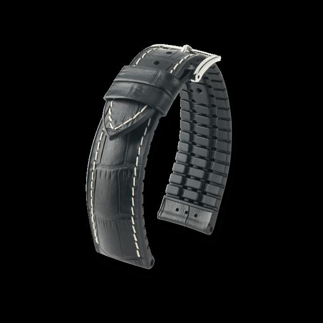 Uhren-Armband Hirsch George Schwarz Uhren-Armband mit silberfarbener Dornschließe   Anstoßbreite 22 mm   Länge 20 cm bei Brogle