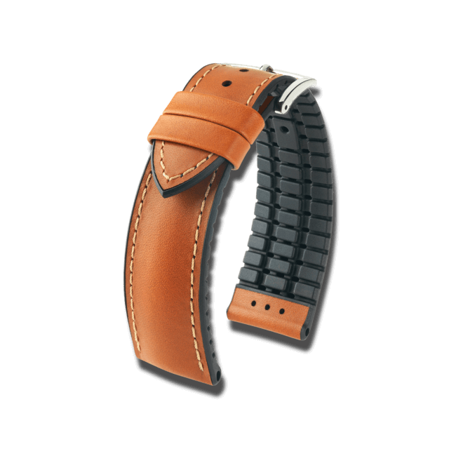 Uhren-Armband Hirsch James Braun Uhren-Armband mit silberfarbener Dornschließe   Anstoßbreite 20 mm   Länge 20 cm bei Brogle