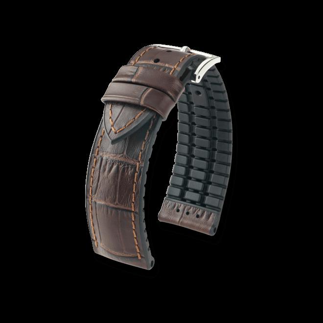 Uhren-Armband Hirsch Paul Schwarz Uhren-Armband mit silberfarbener Dornschließe | Anstoßbreite 22 mm | Länge 20 cm bei Brogle
