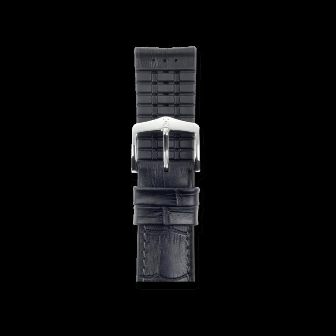 Uhren-Armband Hirsch Paul Schwarz Uhren-Armband mit silberfarbener Dornschließe | Anstoßbreite 24 mm | Länge 20 cm bei Brogle