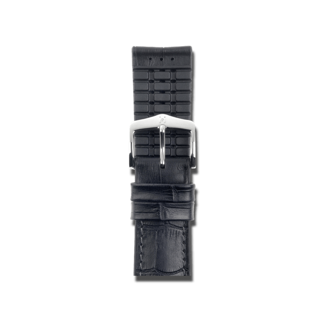 Uhren-Armband Hirsch Paul Schwarz Uhren-Armband mit silberfarbener Dornschließe   Anstoßbreite 20 mm   Länge 22 cm bei Brogle