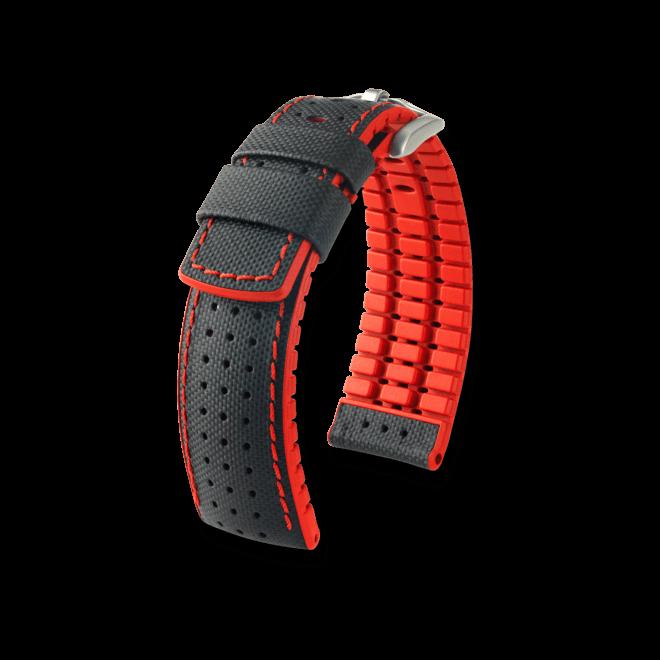 Uhren-Armband Hirsch Robby Rot Uhren-Armband mit silberfarbener Dornschließe   Anstoßbreite 20 mm   Länge 20 cm bei Brogle