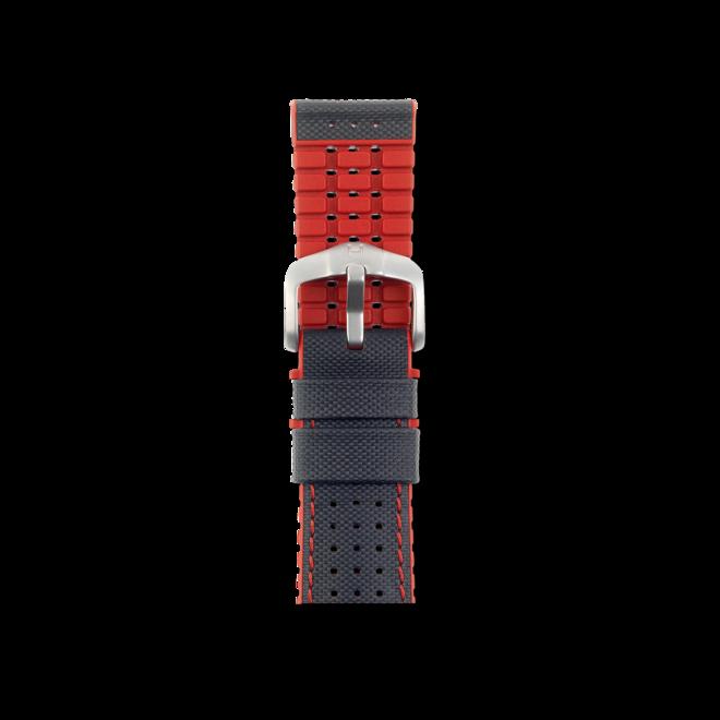 Uhren-Armband Hirsch Robby Rot Uhren-Armband mit silberfarbener Dornschließe   Anstoßbreite 21 mm   Länge 20 cm bei Brogle