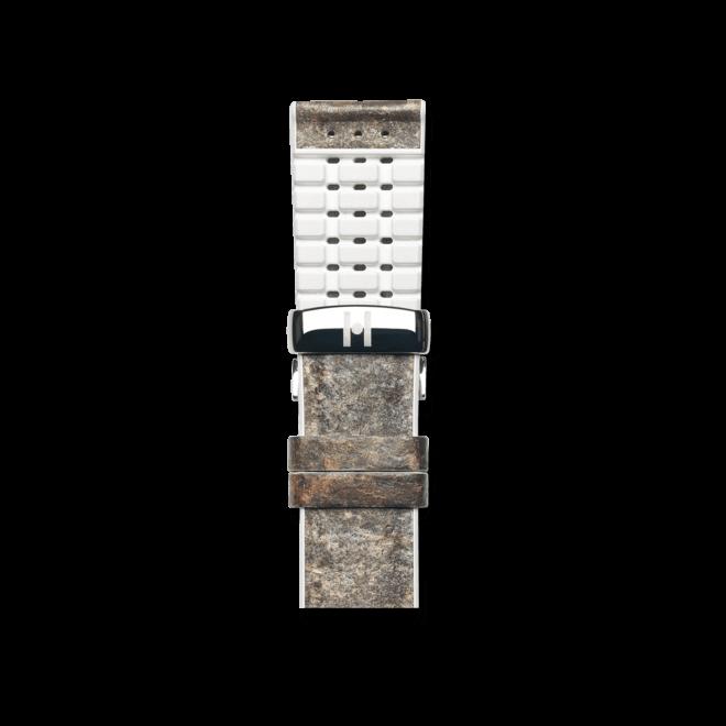 Uhren-Armband Hirsch Stone Weiß Uhren-Armband mit silberfarbener Faltschließe   Anstoßbreite 20 mm   Länge 18 cm bei Brogle