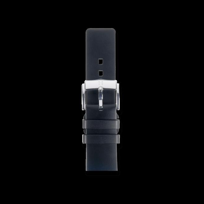 Uhren-Armband Hirsch Pure Schwarz Uhren-Armband mit silberfarbener Dornschließe   Anstoßbreite 18 mm   Länge 18 cm bei Brogle