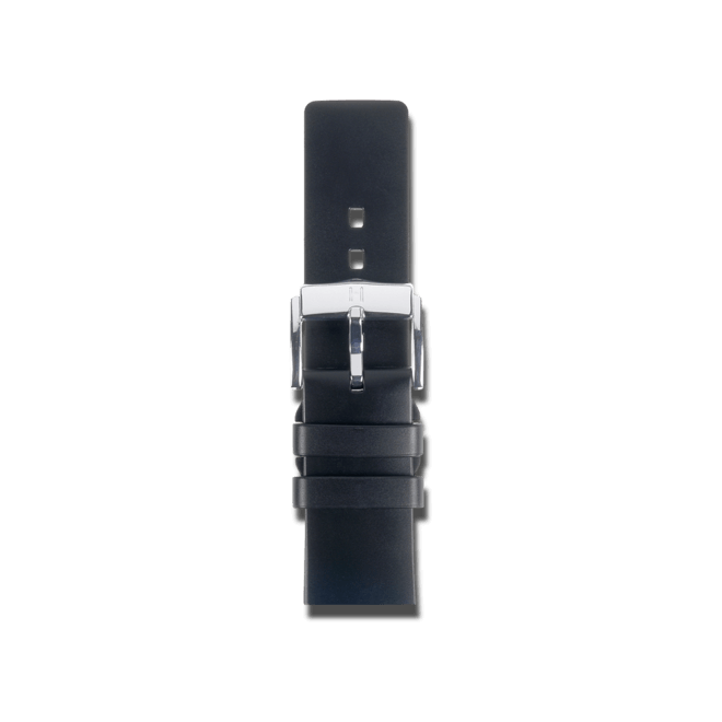 Uhren-Armband Hirsch Pure Schwarz Uhren-Armband mit silberfarbener Dornschließe | Anstoßbreite 18 mm | Länge 22 cm bei Brogle