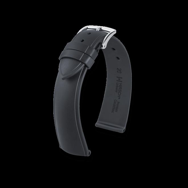 Uhren-Armband Hirsch Urbane Schwarz Uhren-Armband mit silberfarbener Dornschließe | Anstoßbreite 20 mm | Länge 20 cm