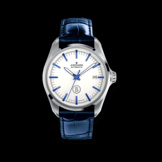 Herrenuhr Junghans Willy Automatic mit weißem Zifferblatt und Krokodilleder-Armband