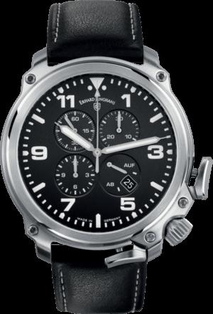 Herrenuhr Junghans Aerious Chronoscope mit schwarzem Zifferblatt und Rindsleder-Armband