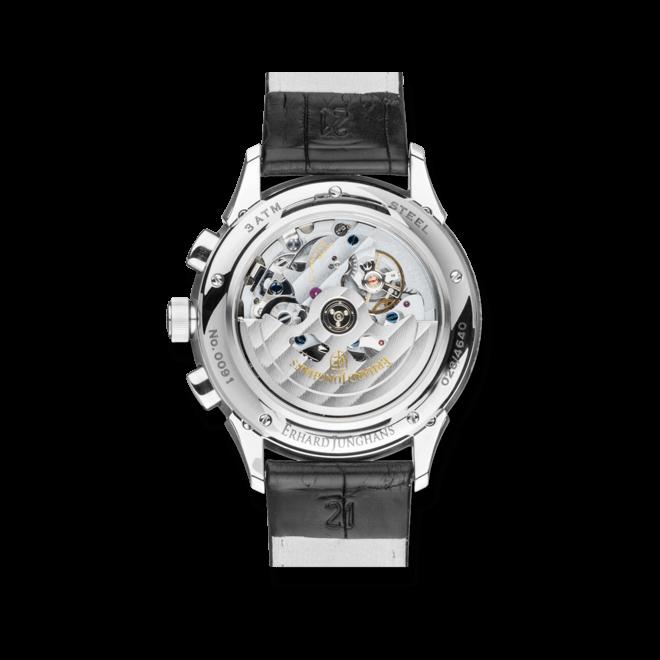 Herrenuhr Junghans Creator Chronoscope mit silberfarbenem Zifferblatt und Krokodilleder-Armband
