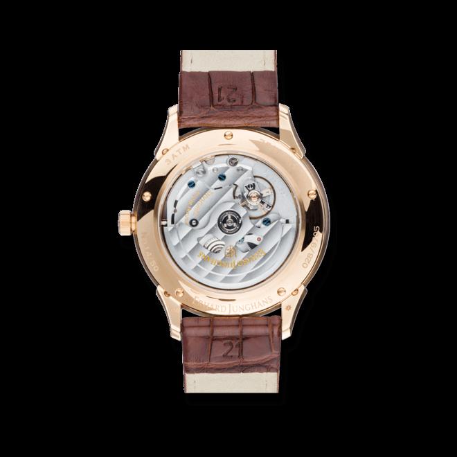 Herrenuhr Junghans Creator Gangreserve Gold mit silberfarbenem Zifferblatt und Krokodilleder-Armband