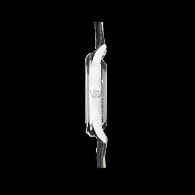 Herrenuhr Junghans Creator Retrograd mit schwarzem Zifferblatt und Krokodilleder-Armband
