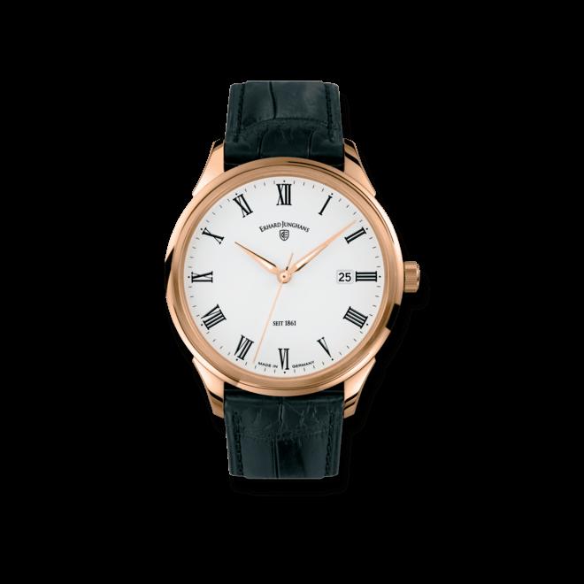 Herrenuhr Junghans Tempus Automatic Gold mit weißem Zifferblatt und Krokodilleder-Armband