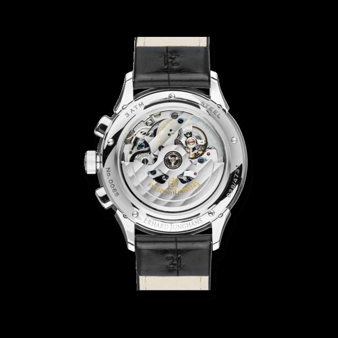 Herrenuhr Junghans Tempus Chronoscope mit schwarzem Zifferblatt und Krokodilleder-Armband