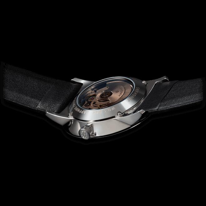 Armbanduhr Junghans Form A mit weißem Zifferblatt und Kalbsleder-Armband bei Brogle