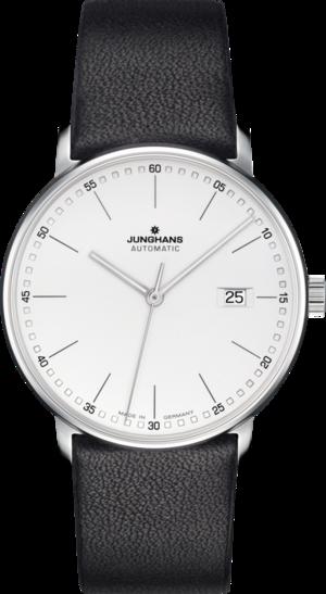 Armbanduhr Junghans Form A mit weißem Zifferblatt und Kalbsleder-Armband