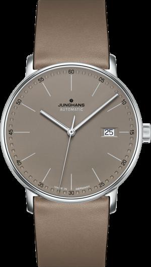 Armbanduhr Junghans Form A mit braunem Zifferblatt und Kalbsleder-Armband