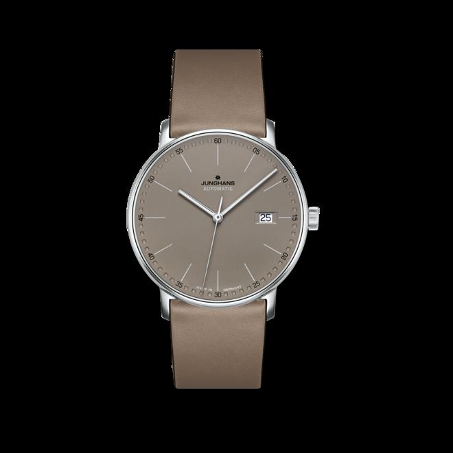 Armbanduhr Junghans Form A mit braunem Zifferblatt und Kalbsleder-Armband bei Brogle