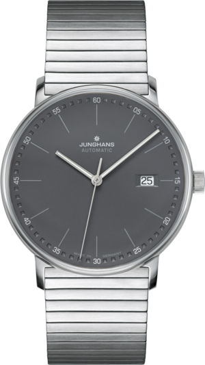 Armbanduhr Junghans Form A mit anthrazitfarbenem Zifferblatt und Edelstahlarmband