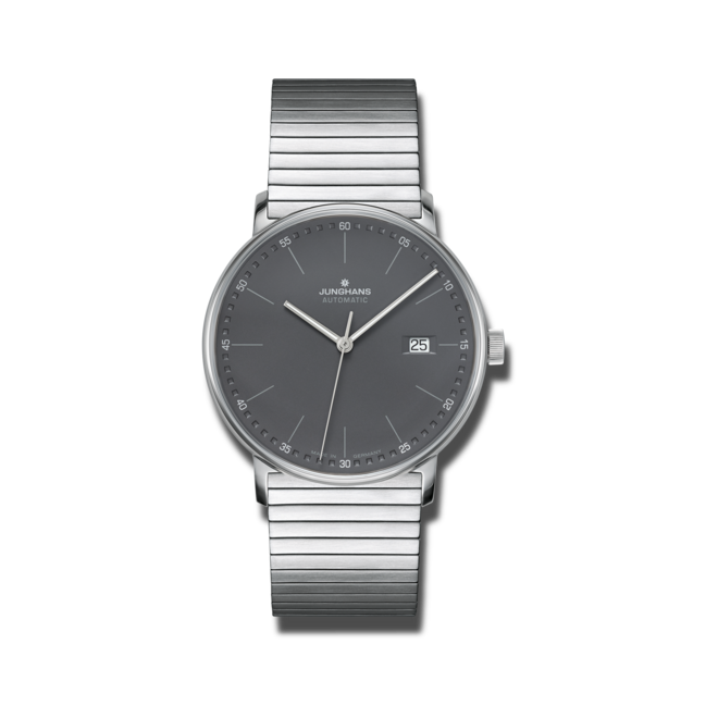 Armbanduhr Junghans Form A mit anthrazitfarbenem Zifferblatt und Edelstahlarmband bei Brogle